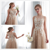 Wholesale vintage dress stores - 2018 garden Champagne A-line Wedding Dress sheer high neck sweep train lace Applique Summer Bridal Gowns hot sell in store size 2- 16 26661
