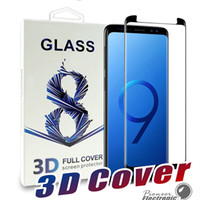 Wholesale Galaxy Note 3d Cases - For Samsung Galaxy S9 S8 Plus Note 8 S7 S6 Edge Case Friendly 3D Curve Edge HD Clear Tempered Glass Screen Protector With Package