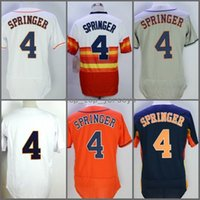 Wholesale Rainbow Flashing - 2018 Flexbase Houston #4 George Springer Home Away Baseball Jersey White Grey Orange Rainbow Cool Base Stitched Jerseys