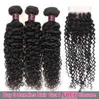 Wholesale hair weave weft sale online - Ishow Hair Big Sales Promotion Buy Bundles Get A Free Closure Brazilian Kinky Curly Unprocessed Peruvian Human Hair Free Part