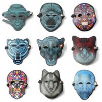 Wholesale colored masks resale online - Led Luminescent Masquerade Sound Reactive Control Special Mask Colored Light Flashing New Pattern EL Masks Activated Halloween ys jj
