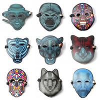 máscaras coloridas venda por atacado-Led Luminescente Masquerade Som Controle Reativo Máscara Especial Luz Colorida Piscando Novo Padrão EL Máscaras Ativadas Dia Das Bruxas 36 5 jj