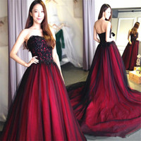 Wholesale classic wedding ball gowns resale online - Gothic Red and Black Wedding Dress Strapless Dazzling Applique Ball Gown s Vintage Bridal Gowns Classic Design Custom Made