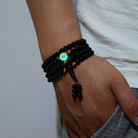 продажа бус ручной работы оптовых-Sale Unisex Dragon Black  Bracelets Glowing in the Dark Buddha Adjustable Handmade Men Long Bracelets Jewelry