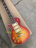 Wholesale cherry left handed guitar online - Left hand Electric Guitar with Open Pickups Cherry Sunburst Body Flame Maple Veneer can be customized