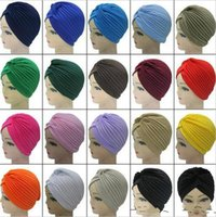 hint tarzı şapkalar toptan satış-2018 Yeni Moda Yumuşak Hint Tarzı Yoga Headwrap Cap Türban Şapka Cloche Kemo Saç Kapak Arap Kafa Wrap Kap