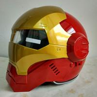 Wholesale motorcycle helmets gold resale online - MASEI Gold Red IRONMAN Iron Man helmet motorcycle helmet half open face helmet casque motocross red M L XL