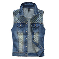 Wholesale wholesale sleeveless denim jackets online - Tide Men s Denim Vest Cowboy Sleeveless Jean Jackets Men Waistcoat Slim Fit Casual Male Jean Coat holes SA268Mountainskin