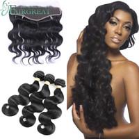 Wholesale lace front part closure - Brazilian Body Wave Unprocessed Virgin Bundle Wit Lace Front Closure Brazilian Human Hair 3Bundles With Lace Closure Natural Color Wholesale