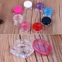 Wholesale plastic travel jars - 100pcs lot Travel Cosmetic Sample Containers 3g Plastic Pot Jars Cosmetic Container Travel Sample Case 10 Colors