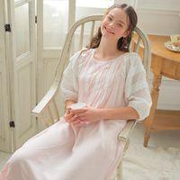 long sleeve white nightgown großhandel-Womens Long Sleeping Dress Weiß Nachthemd Half Sleeve Sommer Nachthemd Elegante Vintage Nachthemden Home Dress For Sleeping
