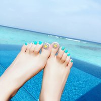 Wholesale fake foot nail - 24pcs Cute Sunflowers Summer Toe False Nails Blue Feet Patch Finished Foot Artificial Fake nails Manicure Tool Glue Sticker
