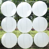 Wholesale Wedding Decorations Paper Lanterns - 10pcs 16''40cm Chinese Traditional White Paper Lantern Led Lamp Container Kid's Flesh DIY Gift Wedding Outdoor Party Decoration