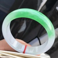 Wholesale natural green jadeite bangle resale online - Only One MM Certified Grade A Natural Green Jadeite JADE Bracelet Women Bangle