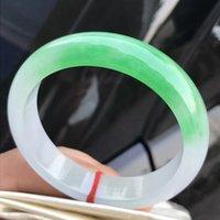 doğal dereceli jadeit yeşim toptan satış-Sadece Bir! 55 MM Sertifikalı (Sınıf A) 100% Doğal Yeşil Jadeite YEŞIM Bilezik Kadın Bileklik 72706