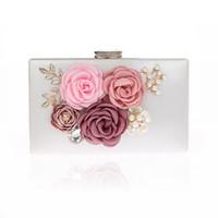 женские кошельки ручной работы оптовых-Lady 6 Colors Handmade Fabric Flowers Evening Bag  Wedding Bride Clutch Bags Pearl Party Chain Handbag Purses Wallets Z942