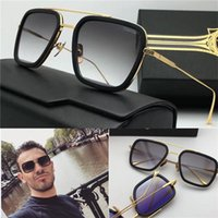 Wholesale gold lens mirror sunglasses - new designer sunglasses flight 006 square frame coating mirror lens gold plated men brand designer UV400 lens retro style top quality