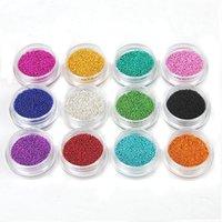 micro bolas venda por atacado-12 cores micro bola micro cristal unhas caviar para pregos suprimentos de unhas arte decorações