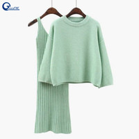 трикотажное платье из двух частей оптовых- Knitted Wool Sweater Dress Two Piece Set Winter Casual Long Sleeve Blouses Vestido Female Suit Student Sweater Suit