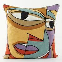 ingrosso cuscini ricamati d'epoca-Ricamo stile vintage europeo Pablo Picasso Dipinti Face Cushion Covers Nordic ricamato cuscino decorativo in cotone cuscino