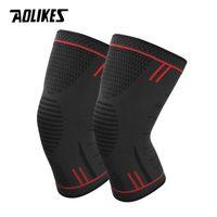 knie-stützpaar großhandel-AOLIKES 1 Paar Rutschfeste Silikon Sport Knieschützer Unterstützung für Laufen, Radfahren, Basketball, ArthritisInjury Recovery Kniepolster