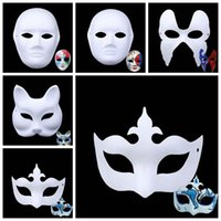 Wholesale white mask painting faces resale online - DIY Children Art Painting Masquerade Handmade Pulp White Mold Mask Creative Inspire Imagination Gift Unpainted Party Mask CCA10219