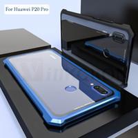 cajas del teléfono del tornillo al por mayor-Para Huawei P20 Pro Funda protectora para aviones de parachoques de metal protectora de aviones de metal para P20 Lite Cubierta de vidrio templado transparente