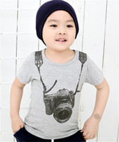 Wholesale baby boy years old clothing for sale - summer children boy kids camera short sleeve tops O neck T shirt tees clothes fit for baby boys years old