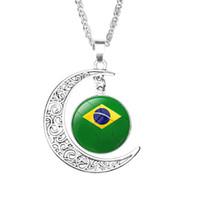 ingrosso mondo dei monili-Sconti Messico Soccer necklace Souvenirs, 2018 Russia World Cup fan gioielli, mens ciondolo mezzaluna pietra tempo calcio bandiera nazionale