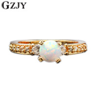 Wholesale wedding jewelry champagne color - GZJY New Beautiful Simple Round Jewelry White Fire Opal Zircon Champagne Gold Color Wedding Ring For Women Gift Wholesale