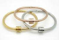 paare armbänder ringe großhandel-Europa und die Vereinigten Staaten 18K übertragen Charge Sterne mit Liebe paar Armband Twist Schraube Muster weiblichen ewigen Ring