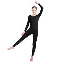 mono de lycra negro al por mayor-(SWH021) Traje de cuerpo entero de piel spandex negra ajustada de cuerpo entero Traje de traje de Zentai para hombre / mujer Unitard Lycra Dancewear
