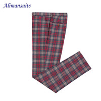 Wholesale Men Dress Suits Cheap - New Tweed Custom Made Plaid Pant Formal Wedding Men Suit Pants Cheap Fashion Slim Fit Casual Brand Straight Dress Trousers