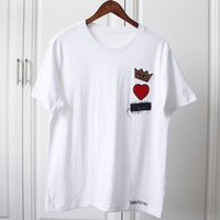 Wholesale prince t shirts - 18ss Luxury Europe Italy Prince Crown Heart T-shirt High Quality Summer Fashion Men Women Embroidery T Shirt Casual Cotton Clothes Tee Top