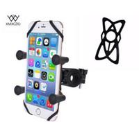 seguridad para celulares al por mayor-Soporte de riel para manillar de bicicleta con base de perno en U y soporte universal para motocicleta de bicicleta para teléfono celular X-Grip con bandas de seguridad