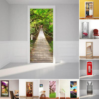 fondos de pantalla naturaleza pegatina al por mayor-Nevera creativa Cubierta de la puerta Etiqueta de la pared Moda naturaleza 3D Pegatinas de pared Decoración para el hogar paisaje poster PVC art Decal Wallpaper #E