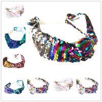 Wholesale baby headbands accessories online - Baby Kids Girls Mermaid Headbands Girls Sequined Hairband Children Hair Accessories Sequin Headband Reversible Elastic Headwrap KHA719