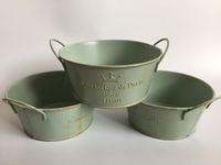 Wholesale Bucket S - D14*H6.5CM(D5.5XH2.6inch) Vintage Nostalgia Tin Planter Galvanized Buckets Succulents Pot Romancique de Paris Since 1898 SF-122G