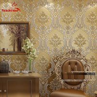 огнеупорные обои оптовых- Classic Wall Paper Home Decor Background Wall Damask Wallpaper Golden Floral Wallcovering 3D velvet Wallpaper Living Room
