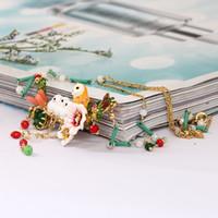 ingrosso collana di gufo di smalto-Francia ornamenti romantici smalto gufo delle nevi bambino cristallo collana nappe in lega di rame gioielli in oro davvero placcato donne