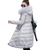 с капюшоном парки для женщин оптовых-Fur collar long hooded casaco feminina inverno warm thicken cotton padded high quality women winter jacket womens coats parkas