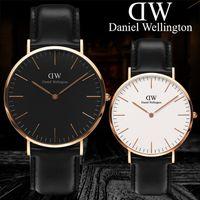 quarz damen gold armbanduhren großhandel-Männer Daniel Wellington Uhr Frauen Quarz Modemarke DW Designer Lovers 'Uhren Leder Rose Gold Armbanduhr Männlich Damen Armbanduhren