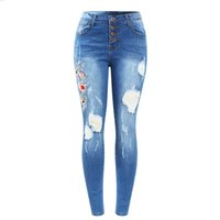 Wholesale stretchy women s jeans - New Button Fly Real Emboridery Ripped Jeans Woman Plus Size Stretchy Denim Skinny Pants Trousers For Women Jeans