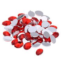 gemas acrílicas vermelhas venda por atacado-cor vermelha Artesanato Arte Gemas Oval Gems Flatback facetas da Terra Acrílico Rhinestone Strass alto brilho Pedras Art Nail