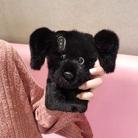 housse d'hiver iphone achat en gros de-3D Chien Fourrure Téléphone Cas En Peluche Poupée Pet Couverture Arrière Hiver Cellulaire Coque pour iPhone XS Max XR X 6s 7 8 Plus