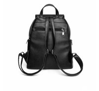 Wholesale Interior Design Pink - 2018 Fashion Genuine Leather Black Red Design Girl Women Backpacks School Bags Handbags High Quality Free Shipping