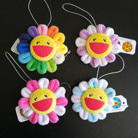 Wholesale pink doll style resale online - Top New Styles Rainbow Sunflower Plush Brooch Anime Smile Face Dolls Soft Gifts Cartoon Brooches