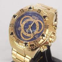 Wholesale brazilian bands - INVICTA 2017 Brazilian Hot Selling Large Dial Luxury Men's Watches Gold steel band Sports Watch Quartz Watches Relojes de Hombre