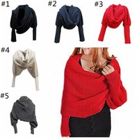 Wholesale Womens Sweater Shawl - Womens Lady Knit Cardigan Loose Sweater Long Sleeve Knitted Wrap Shawl Scarf Oversize Coat Outwear YYA1283