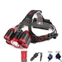 chargeurs de batterie ac dc achat en gros de-CREE 5 * LED XML T6 Phare 8000 Lumens 4 mode Zoomable Phare Rechargeable Lampe frontale lampe de poche + 2 * 18650 Batterie + Chargeur AC / DC